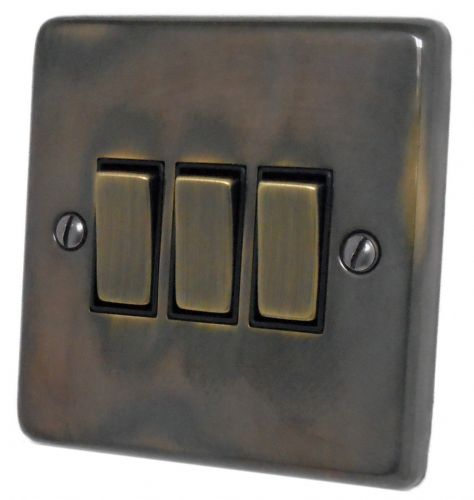 G&H CAN303 Standard Plate Polished Aged Brass 3 Gang 1 or 2 Way Rocker Light Switch